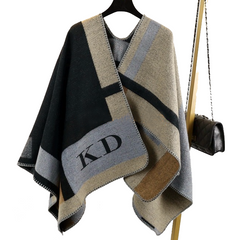 Plaid Monogram Poncho in neutral