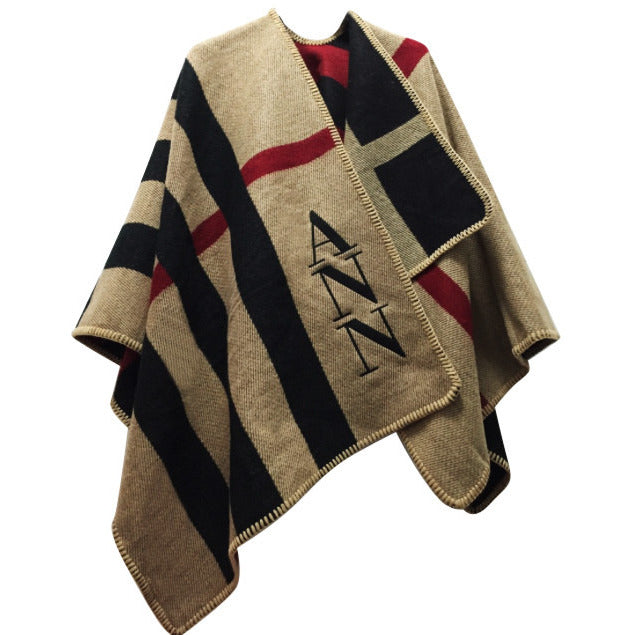 Monogram Poncho in Black & Red