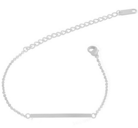 Stainless Steel Bar Bracelet -Silver
