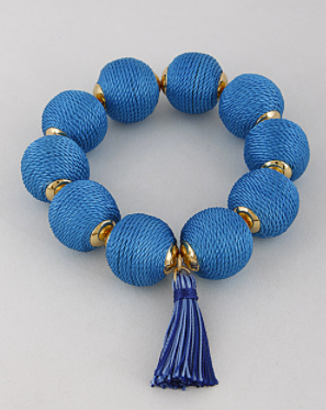 Blue threaded bead tassel bracelet