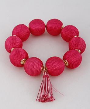 Lars Threaded Bead Tassel Bracelet - Pink