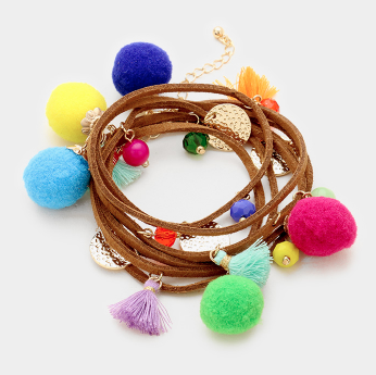 Convertible Pom Pom & Tassel Wrap Bracelet/ Long Necklace