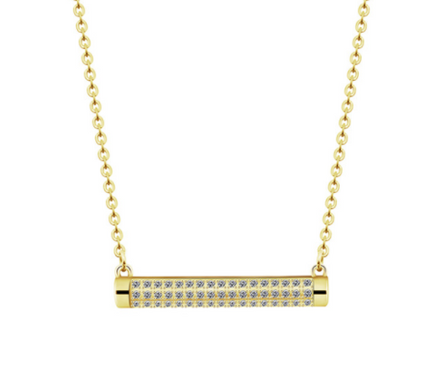 Minimalist CZ Bar Necklace