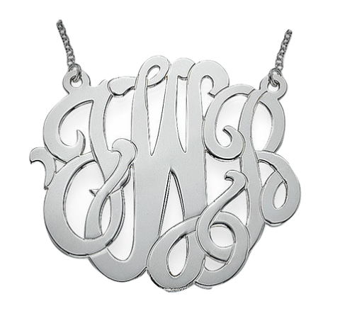 Premium Monogram Necklace - Silver