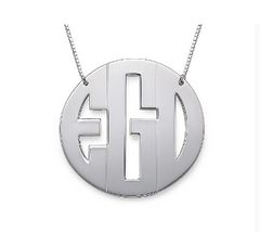 Large Block Monogram Necklace