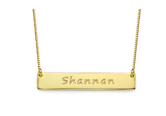 Engraved Bar Necklace - Gold