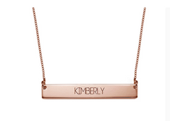 Engraved Bar Necklace - Rose Gold