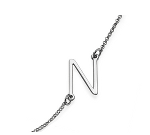 Sideways Initial Necklace - Silver