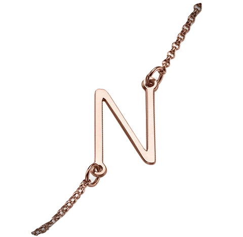 Sideways Initial Necklace - Rose Gold