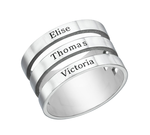 Triple Name Ring - Silver