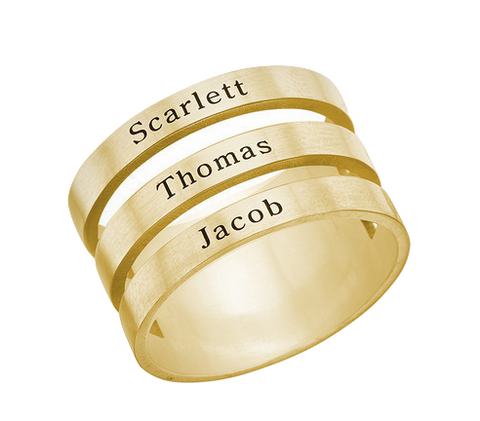 Triple Name Ring - Gold