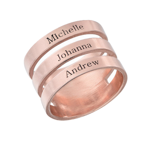 Triple Name Ring - Rose Gold