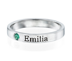 Stackable Birthstone Name Ring - Silver