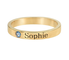 Stackable Birthstone Name Ring - Gold