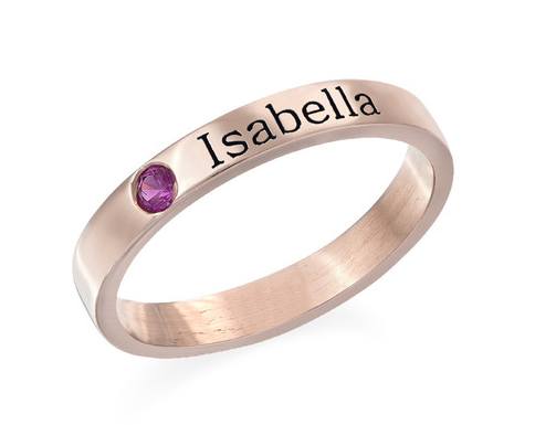 Stackable Birthstone Name Ring - Rose Gold