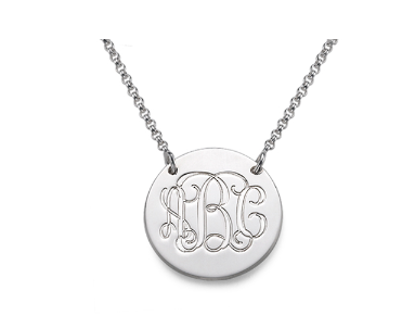 Monogram Disc Necklace - Silver