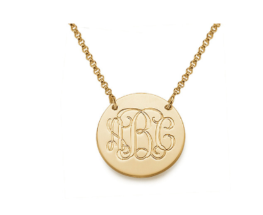 Monogram Disc Necklace - Gold