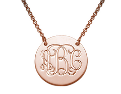 Monogram Disc Necklace - Rose Gold
