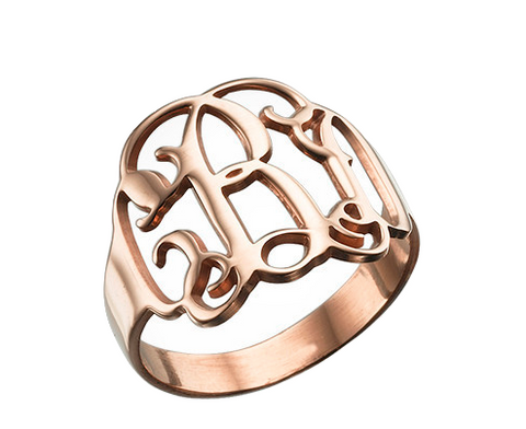 Script Monogram Ring - Rose Gold