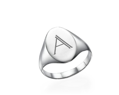 Signet Initial Ring - Silver