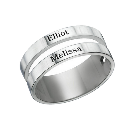 Double Name Ring - Silver