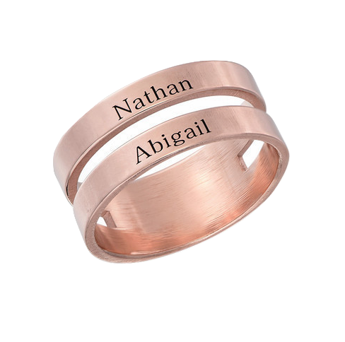 Double Name Ring - Rose Gold