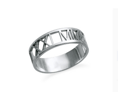 Roman Numeral Cut Out Ring - Silver