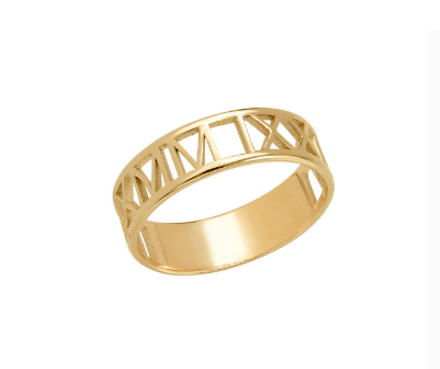 Roman Numeral Cut Out Ring - Gold