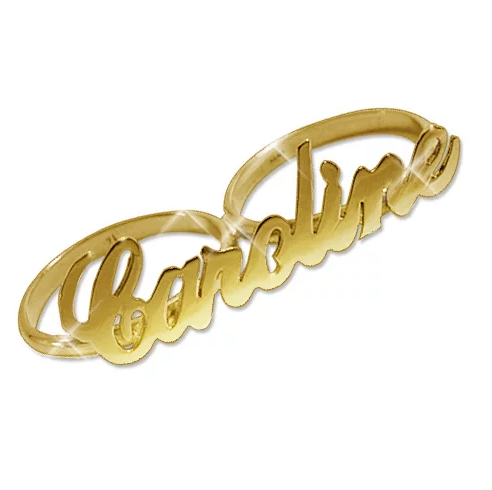 Two Finger Name Ring - Gold