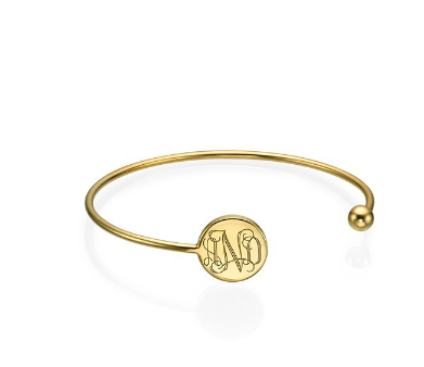 Round Monogram Bangle Bracelet - Gold