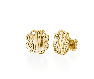 Monogram Script Earrings - Gold