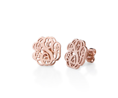 Monogram Script Earrings - Rose Gold