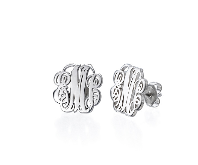 Monogram Script Earrings -Silver