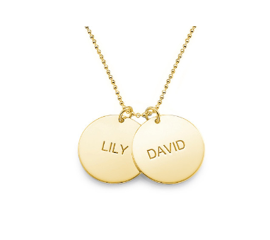 Double Engraved Disc Necklace - Gold