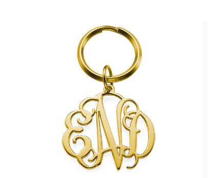 Celebrity Monogram Keychain - Gold