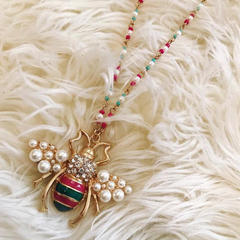 Pearl Cluster Bee Necklace