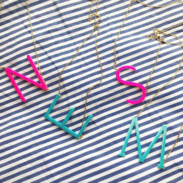 Color Pop Acrylic Large Sideways Initial Necklace