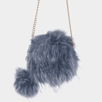 Faux Fur Pom Clutch Bag