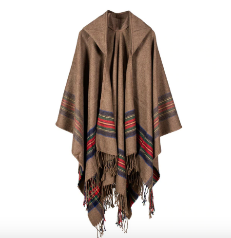 Hooded Plaid Poncho in Khaki