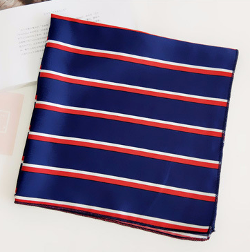 Red & Navy Striped Square Scarf