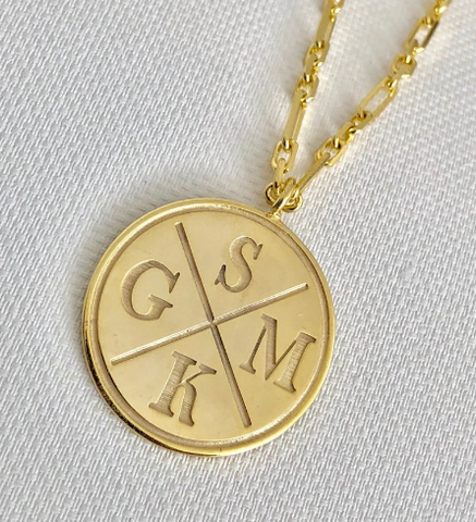 Large Personalized Coin Disc Necklace