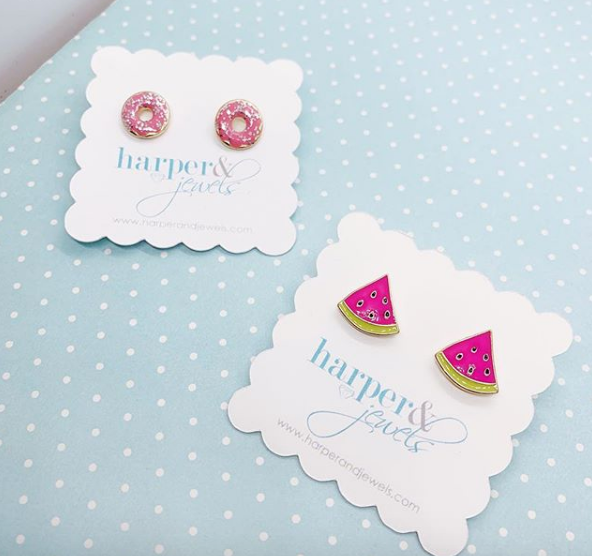 Sprinkled Donut Enamel Stud Earrings - Strawberry