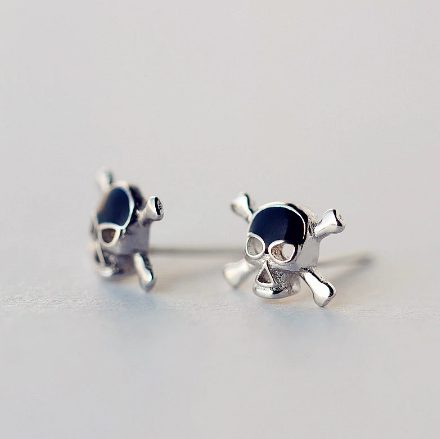 Sterling Silver Enamel Skull Stud Earrings