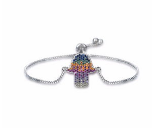 Rainbow Hamsa Toggle Bracelet