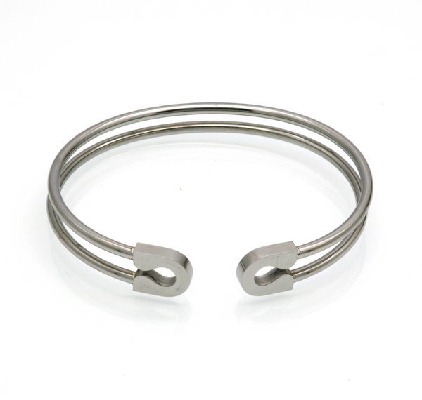 Stainless Steel Safety Pin Cuff Bracelet
