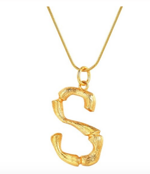Bamboo Initial Necklace on Snake Chain