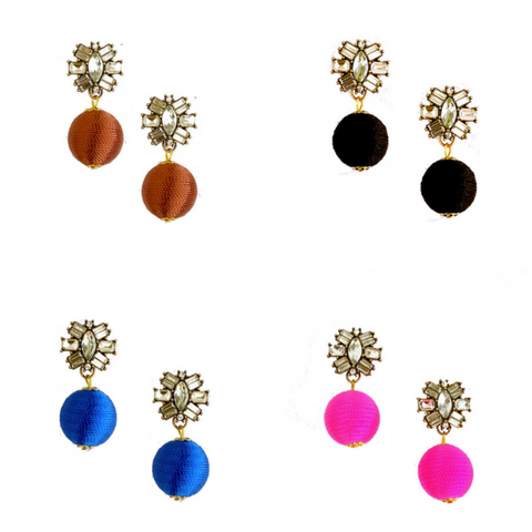 Drop Thread Ball Earrings