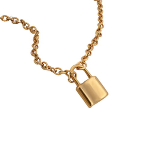 stainless steel lock pendant necklace