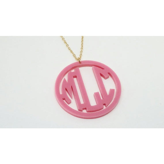 Acrylic Block Circle Monogram Necklace