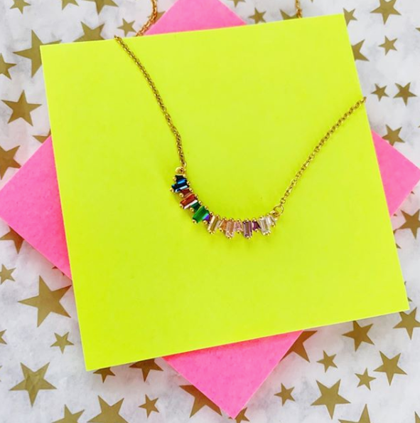Gold Curved Rainbow Baguette Bar Necklace